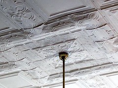 Tin Ceiling 1 (Universal Pops (David)) Tags: light architecture tin design pattern kentucky interior decoration victorian bank ceiling business vault residence fixture dishwashing stamped embossed intricate ornamentation fireproof lightweight whitesburg nationalregisterofhistoricplaces nrhp letchercounty courthousecafe whitesburghistoricdistrict rolledtinsheet fieldsblock