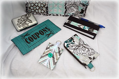 Floral Rag Quilt Purse & Accessories (J Taylor Quilts) Tags: custom floral teal brown silver rag quilt purse set wallet coupon holder gift card coin change checkbook cover scrappy