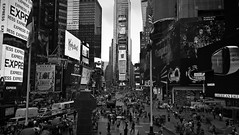 Softened Times Square (yanoche) Tags: usa america timessquare ad advertisement color lights blackandwhite soft grey ny newyork
