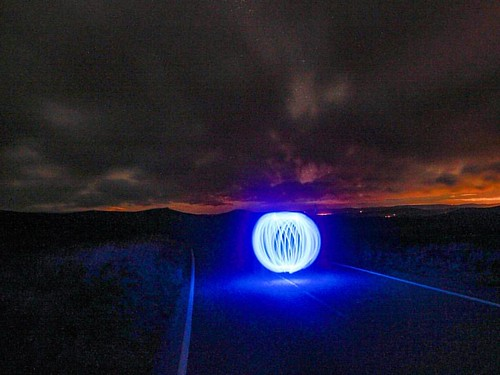 Orb Was challenging light painting the Orb on a slope but was quite happy with the result. Will try a narrower light next time.  #aurora #northernlights #orb #lightpainting #creative #abstract #longexposure #beautiful #blue #cairnomount #aberdeenshire #be