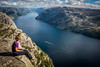 Preikestolen. Lysefjord. Alltid se på den lysere siden av livet. (guigonliz) Tags: preikestolen lysefjord nynorsk prekestolen ryfylke rogaland jørpeland norge noreg kongeriket norway noruega norvège norvegia ノルウェー norwegen pulpitrock pulpit rock 講壇ロック europa europe european ヨーロッパ fjord フィヨルド fiord fiordo hike cruise fjellvandring randonnée escursioni excursió mountain montaña muntanya montagne montagna 山 fjellet vandring sea mar mare sjø 海 meer woman girl dona nena noia mujer chica frau mädchen 女 ragazza donna femme fille nikon d5200 ニコン