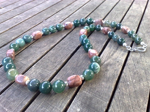 Moss agate, brown zebra stone and sterling silver necklace