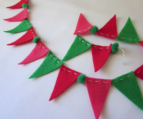 Mini Xmas Bunting Banner Green Red Pink