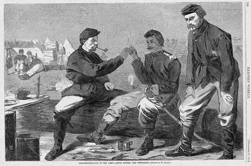 """Harper's Weekly, 12/8/1864, Winslow Homer, """"Thanksgiving-Day in the Army—After Dinner: The Wish-bone"""""""