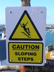 Sloping Steps (Richard and Gill) Tags: sign yellow stairs danger warning cornwall steps stickfigure stives hazard cornish sloping kernow penwith
