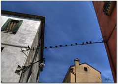 Blue sky over Venice (Michael Malthe Photography) Tags: blue venice houses light red summer sky italy sunlight hot love lamp beautiful birds yellow buildings wire europe shadows memories romance memory romantic hdr doves hdri