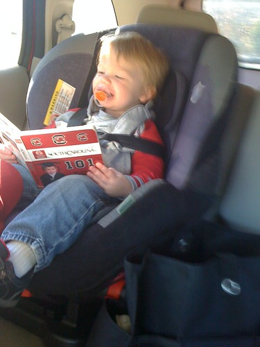 101120 Coleman reading Gamecocks book in car