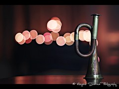 One of my favorite toys from childhood. Brings back a lot of memories : ) [EXPLORE] Dec 2 2010 (Mayank Sharma renewed :D :D) Tags: pink red music black childhood metal canon fun toys 50mm lights focus play bokeh trumpet brass mayank childhoodmemories