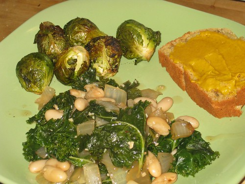 Beans & greens, brussel sprouts, apple bread
