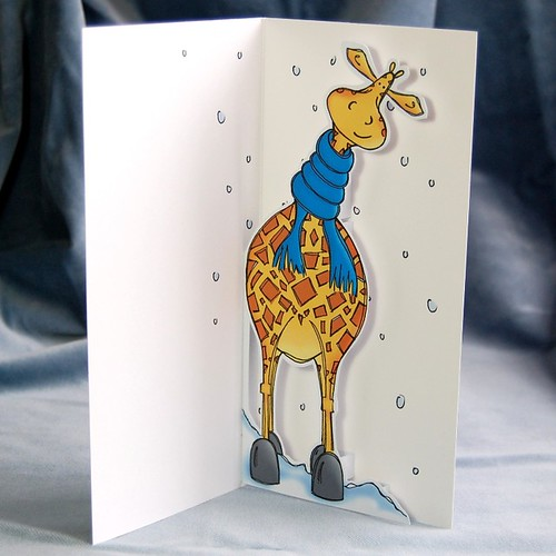cosy giraffe - pop up card 02