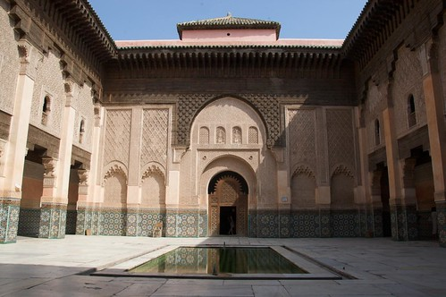 Ben Youssef Madrassa old religious school inside the old Medina of Marrakech Morocco
