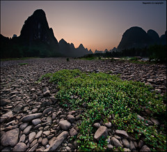 Living on the rocks of the Li River (Ragstatic) Tags: world life china travel light sunset people green heritage nature silhouette river liriver nikon rocks exposure shadows view earth stones rags quality culture scene vegetation ng creepers karst publication nationalgeographic subtle guangxi xingping d700