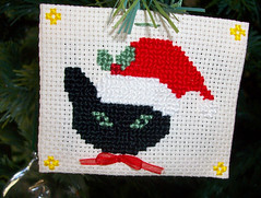 jingle cat (LaPaTs) Tags: christmas cat cross stitch ornament