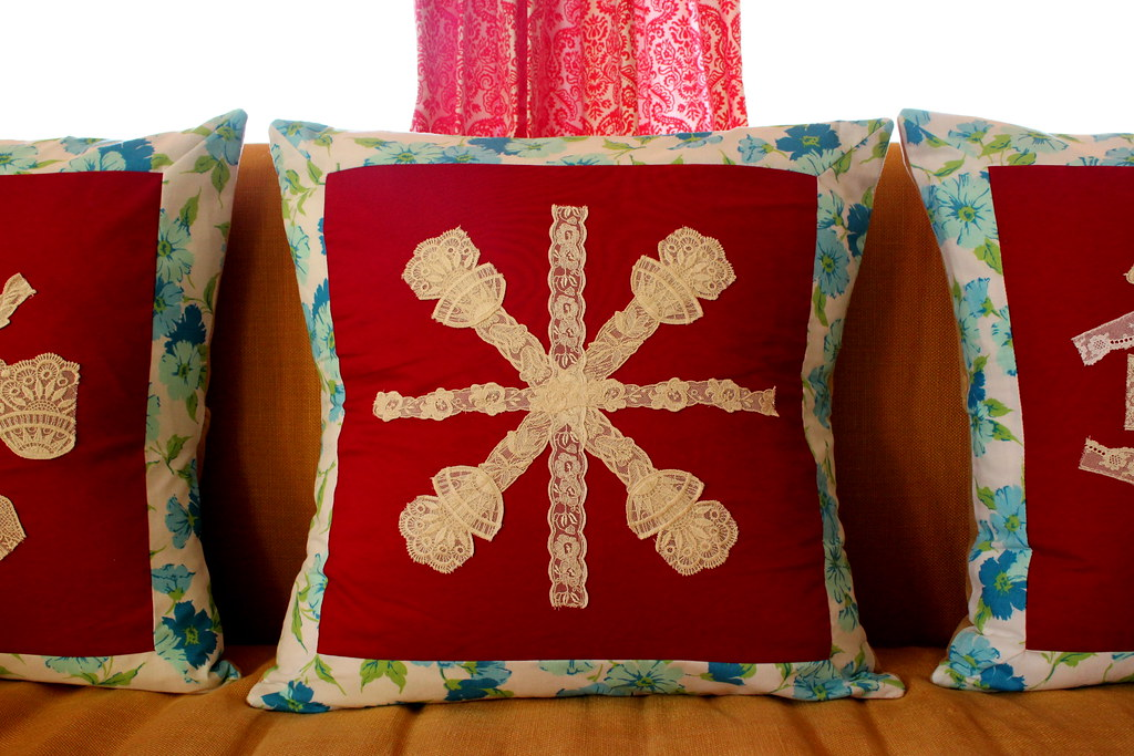 lace snowflake pillow