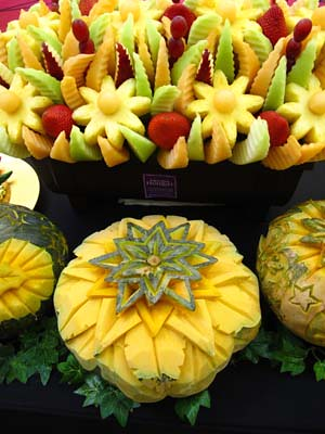 carved fruits and veggies