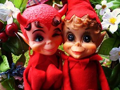 Nothing Like Family (judibird) Tags: christmas vintage toy doll kitsch pixie plush elf devil diablo 1968 madeinjapan kamar dikkens kneehugger