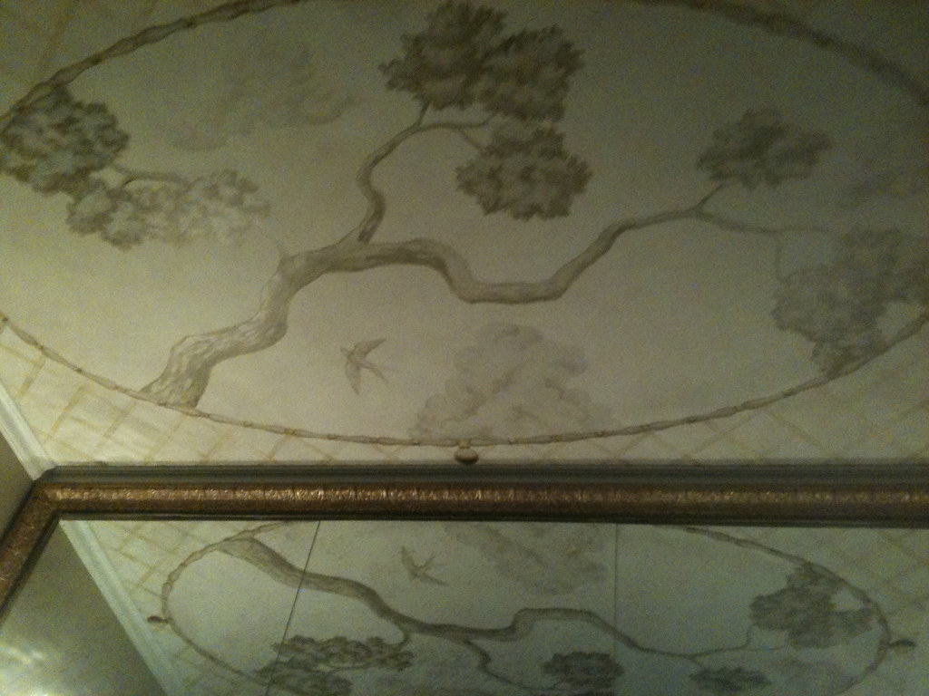 Grisaille ceiling mural that I'm currently painting.  I love how it's reflected in the mirror.