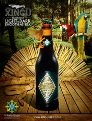 Poster Xingu beer (igor bittencourt) Tags: wood light black beer rain forest dark cobra snake indian smooth silk sombra frog xingu cerveja sapo floresta madeira indio arara blackbeer indigena cocar