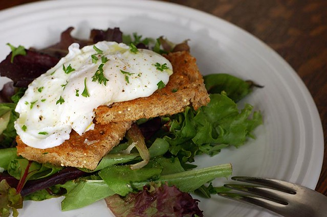 poached egg with toast and greens