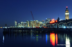 Blue hour (Rafakoy) Tags: city longexposure blue sky color colour building tower clock water colors skyline night digital buildings dark lights newjersey cityscape colours dusk towers late hudsonriver nite hoboken afsnikkor18105mmvr nikond7000