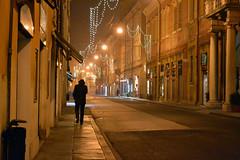 Per le vie verso casa, Modena (rawrrgrrl) Tags: road lighting christmas street xmas light italy walking italia loneliness centro luci modena natale vie emiliaromagna