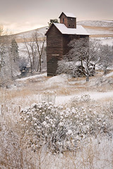 Winter Granary (David M. Cobb) Tags: winter usa snow cold architecture oregon cool antique or wheat grain ghosttown boyd grassland granary oldwest agricuture