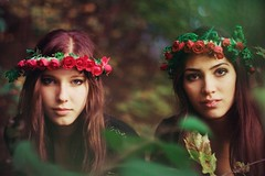 forest will take you in (Ailera Stone) Tags: flowers red roses black green stone fairytale forest bokeh dream crown nymph myth headdress aist ailera tirit
