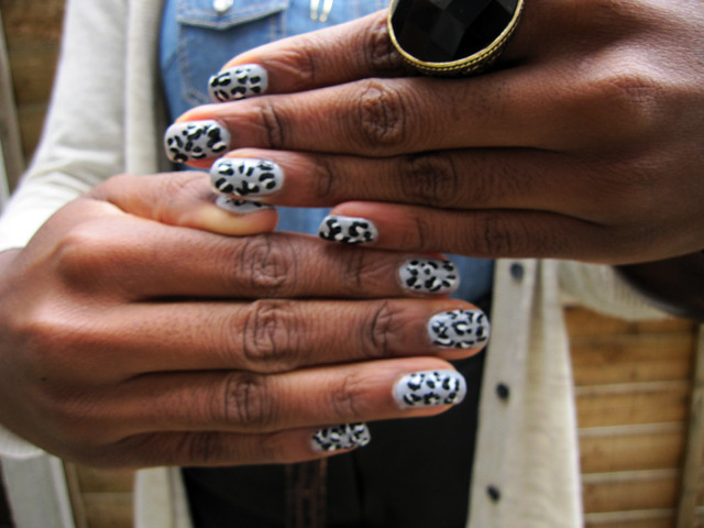 leopard print diy wah nails