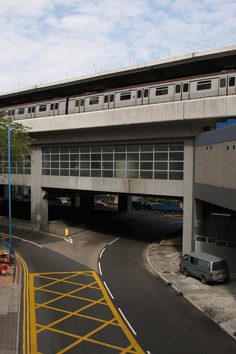 Kwun Tong station: underground road, a roundabout, the station concourse, then the platforms