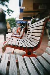 bench, bench, bench! (benjamin vitamin) Tags: city newzealand tlr film cityscape fuji superia toycamera wellington fujifilm aotearoa cubastreet xtra gakkenflex gakkenflextlr