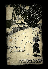 Chrismas Postcard : Snow Pee (MomentsBeingMe) Tags: christmas xmas 1920s boy blackandwhite snow pee sepia 1930s postcard cartoon merrychristmas peeing christmascard thatchedhouses christmaspostcard