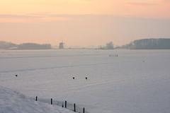 **View from a Dike** (**klaracolor**) Tags: winter sunset snow holland windmill landscape hare nederland thenetherlands windmills noordholland northholland perfectsunsetssunrisesandskys klaracolor
