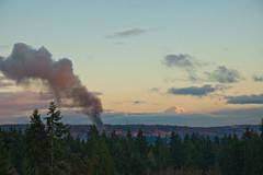 Mount Rainier and a Fire on Vashon Island (Angad Singh | Zone 5 Aviation) Tags: seattle trees sky house home clouds canon fire eos evening harbor washington dusk smoke gig mount mountrainier rainier plume 50d tamronspaf1750mmf28xrdiiildasphericalif