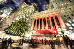 christmas time! (Tony Shi Photos) Tags: lighting christmas new york city nyc ny newyork tree photo downtown district stock lower financial exchange hdr nyse nuevayork    nikond700   tonyshi