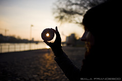 The girl that loved the donut (100% made in Friuli) Tags: light sunset sun love girl canon germany tramonto frankfurt donut 5d sole amore germania controluce ragazza ciambella francoforte 35lf14