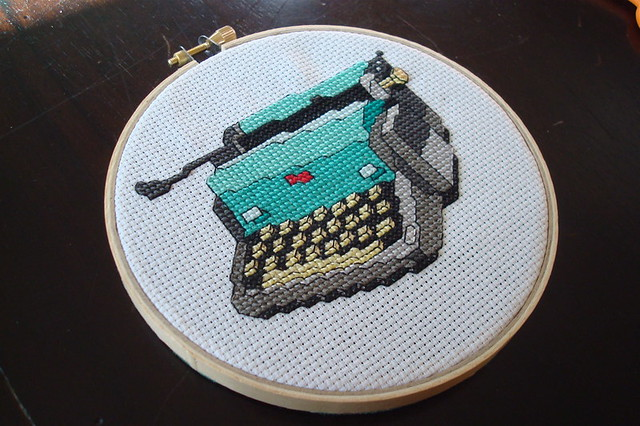 typewriter cross stitch front