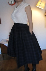 Twirly full wool skirt. Vintage Burda pattern blouse.