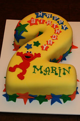 2nd Birthday Elmo Cake (Lucky Penny Cakes) Tags: elmo birthdaycake elmocake numbercake twocake
