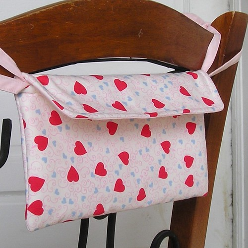 This charming Valentine mailbox features vintage repro fabric.