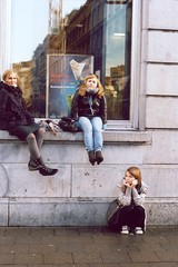 waiting for fries in Brussels (danieladenkova) Tags: street autumn brussels film window sisters shoes waiting sitting fries cousin reflexion