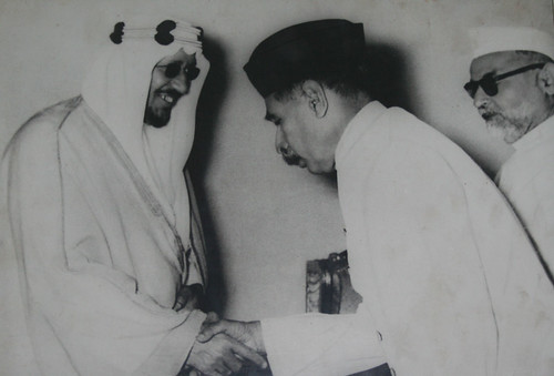 King Saud with Nawab Chattari and Dr Zakir Hussain 2