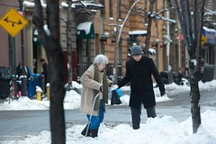 r.a.o.k   -  pass it on (bytegirl24) Tags: street nyc newyorkcity woman snow man cane corner manhattan sidewalk elderly drifts hellskitchen