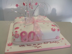CAKE - 80TH IN PINK (CAKE Chester) Tags: birthday pink party cake stars blossom celebration chester mum ribbon 80th