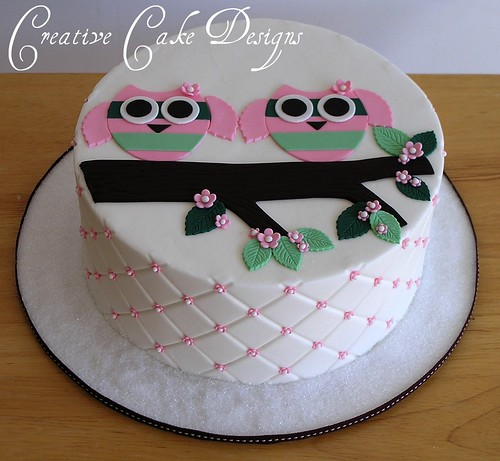 Twin Owl Baby Shower Cake