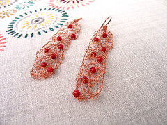 Pure copper crochet rectangular earrings with agate stones - Eco friendly (diaxeiros) Tags: autumn winter red agate stone modern greek ancient long natural handmade crochet jewelry jewellery metalwork friendly geometrical earrings organic elegant delicate eco rectangular semiprecious etnic egst