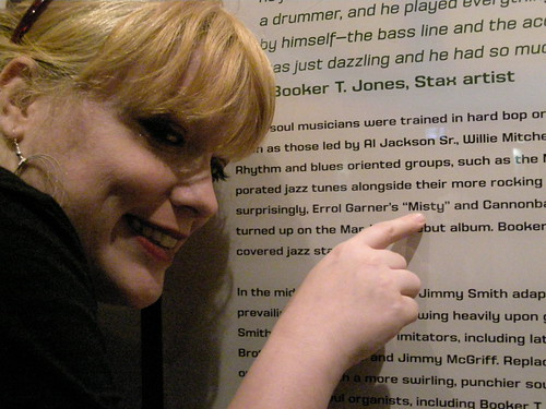 Mystie Chamberlin pointing to the song after which she was named @ Stax Museum of American Soul Music (926 E. McLemore Avenue, Memphis, TN).  Photo by Billie Jo Sheehan.