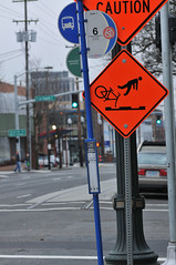 Streetcar caution sign MLK Jr Blvd and Davis-2