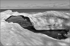 Ice Forming At The Mouth Of 'The Forty' - B&W (jwvraets) Tags: blackandwhite ice nikon gimp lakeontario grimsby d5000 theforty darktable