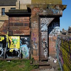 Embellished fragments (Lucky Poet) Tags: old bridge abandoned metal square graffiti scotland edinburgh cut decay railway leith disused demolished girder dismantled
