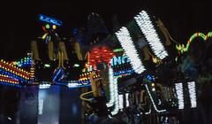 Lights and fun (greendarkroom) Tags: agfact diafilm greendarkroom munichatnight mnchen oktoberfest scans wiesn2016 lights bokeh fair people sunset light black blue munich cultur germany night